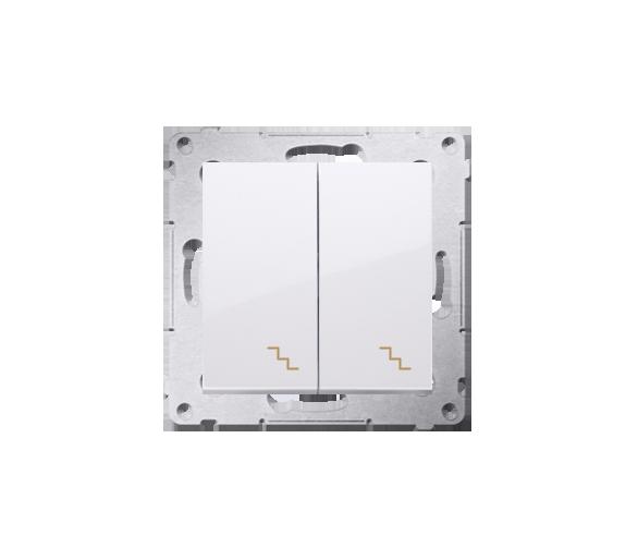 Łącznik schodowy podwójny z podświetleniem LED (moduł) 10AX 250V, zaciski śrubowe, biały
