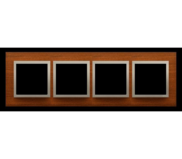 Ramka 4- krotna drewniana złoty orzech DRN4/86