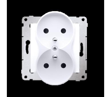 Gniazdo wtyczkowe podwójne z uziemieniem z przesłonami - do Ramek PREMIUM (moduł) 16A 250V, zaciski śrubowe, biały DGZ2MZ.01/11