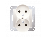 Gniazdo wtyczkowe podwójne z uziemieniem z przesłonami - do Ramek PREMIUM (moduł) 16A 250V, zaciski śrubowe, kremowy DGZ2MZ.01/4