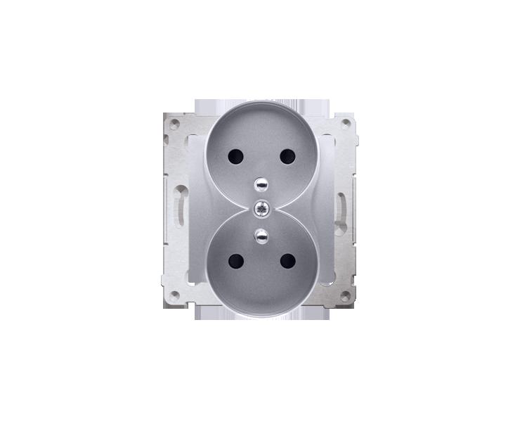 Gniazdo wtyczkowe podwójne z uziemieniem z przesłonami - do Ramek PREMIUM (moduł) 16A 250V, zaciski śrubowe, srebrny mat, metali