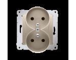 Gniazdo wtyczkowe podwójne z uziemieniem z przesłonami - do Ramek PREMIUM (moduł) 16A 250V, zaciski śrubowe, złoty mat, metalizo