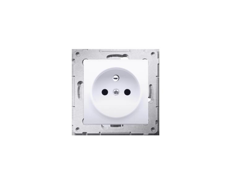 Gniazdo wtyczkowe z uziemieniem i przesłonami (moduł) 16A, 250V, zaciski śrubowe, białe