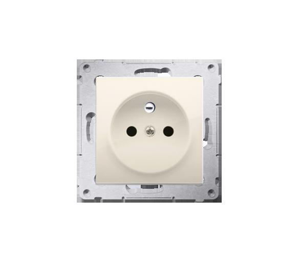 Gniazdo wtyczkowe z uziemieniem i przesłonami (moduł) 16A, 250V, zaciski śrubowe, krem