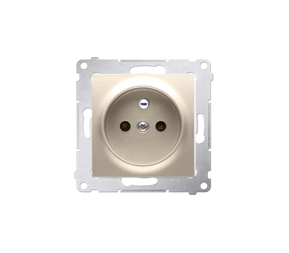 Gniazdo wtyczkowe z uziemieniem i przesłonami (moduł) 16A, 250V, zaciski śrubowe, złoty mat