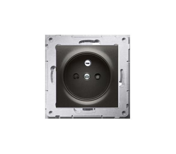 Gniazdo wtyczkowe z uziemieniem i przesłonami (moduł) 16A, 250V, zaciski śrubowe, antracyt