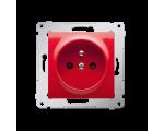 Gniazdo wtyczkowe z uziemieniem i przesłonami (moduł) 16A, 250V, zaciski śrubowe, czerwone