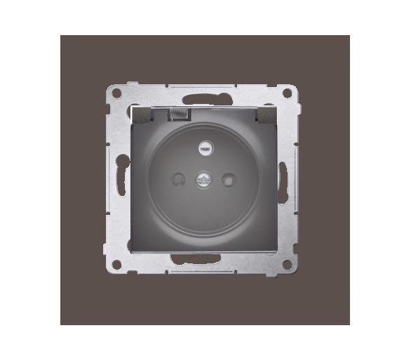 Gniazdo wtyczkowe pojedyncze do wersji IP44 - z uszczelką do ramek Premium - klapka w kolorze transparentnym do ramek Premium (m