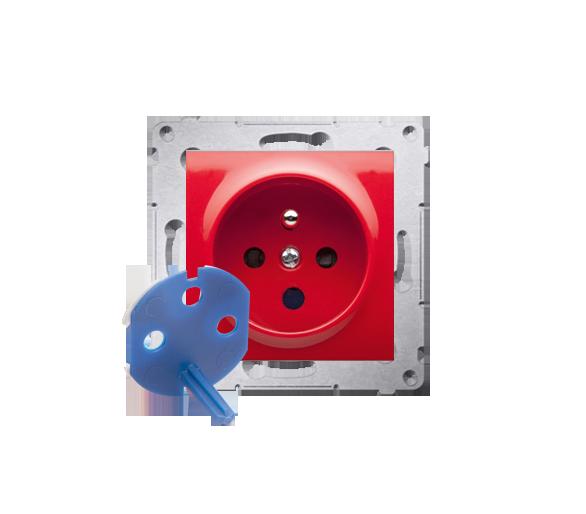 Gniazdo wtyczkowe pojedyncze DATA z kluczem uprawniającym do ramek Nature do ramek Premium (moduł) 16A 250V, zaciski śrubowe, cz