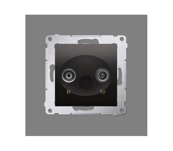 Gniazdo antenowe R-TV przelotowe tłum.:14dB antracyt, metalizowany DAP14.01/48