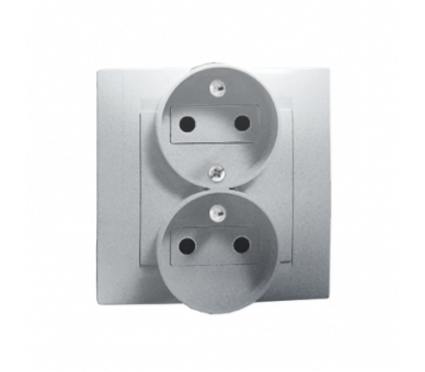 Gniazdo wtyczkowe podwójne z uziemieniem z funkcją niezmienności faz aluminiowy, metalizowany 16A 1591453-026