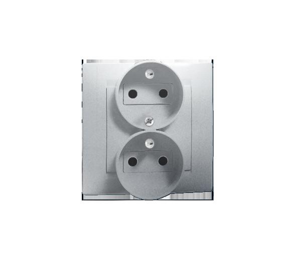 Gniazdo wtyczkowe podwójne z uziemieniem z funkcją niezmienności faz aluminiowy, metalizowany 16A