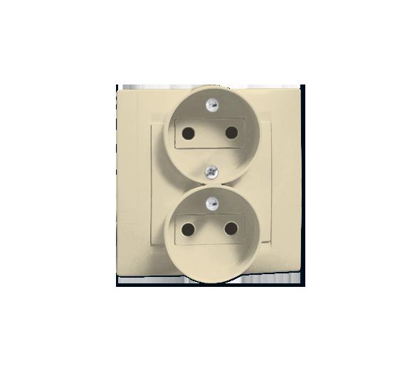 Gniazdo wtyczkowe podwójne z uziemieniem z funkcją niezmienności faz beżowy 16A 1591453-031