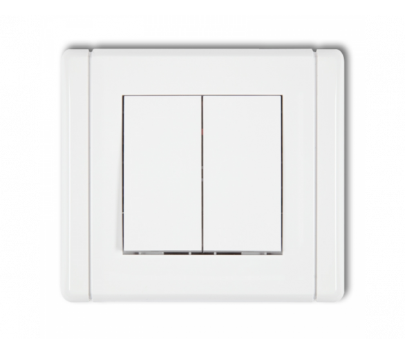 Łącznik jednobiegunowy ze schodowym (dwa klawisze bez piktogramów, wspólne zasilanie) biały FWP-10.11