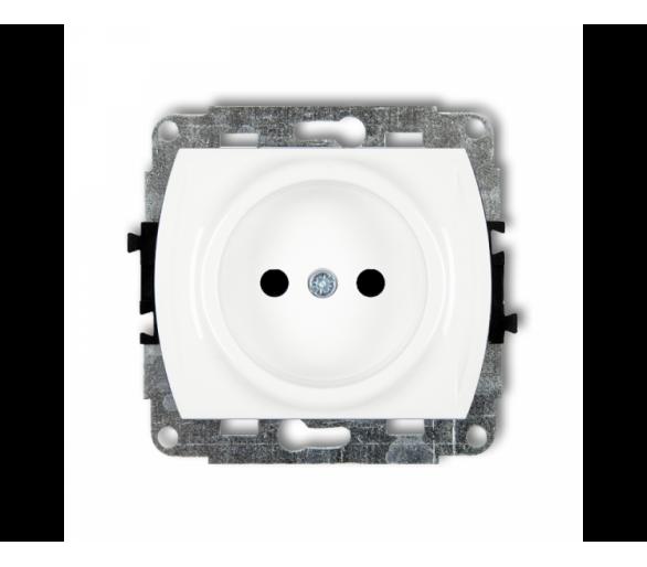 Mechanizm gniazda pojedynczego bez uziemienia 2P (przesłony torów prądowych) biały GP-1p