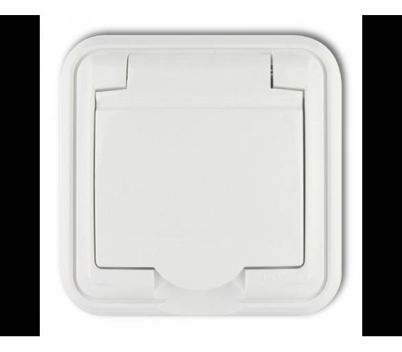 Gniazdo bryzgoszczelne z uziemieniem 2P+Z (klapka biała) biały GPH-1z