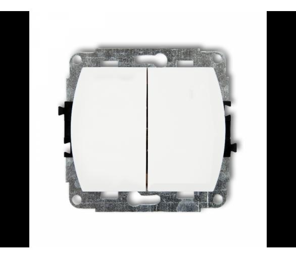 Mechanizm łącznika jednobiegunowego ze schodowym (dwa klawisze bez piktogramów, wspolne zasilanie) biały WP-10.11