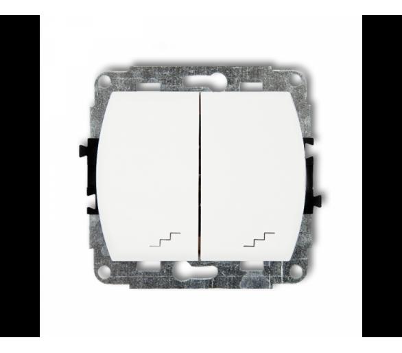 Mechanizm łącznika podwójnego schodowego biały WP-33