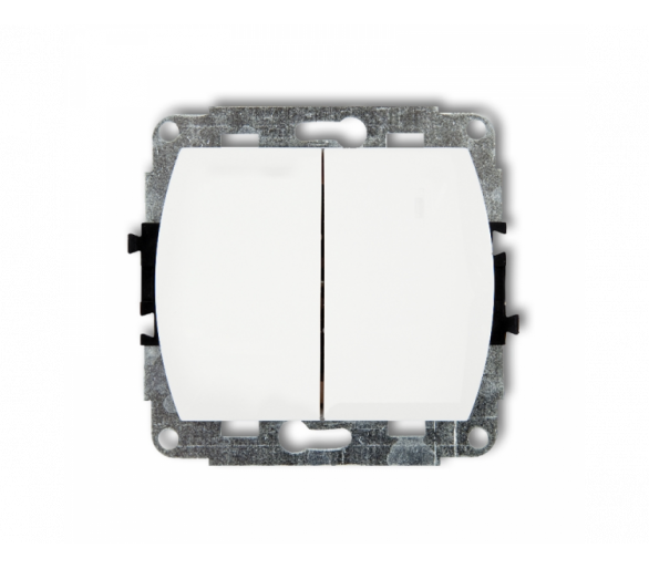 Mechanizm łącznika zwiernego, świecznikowego (dwa klawisze bez piktogramów, wspólne zasilanie) biały WP-44.1