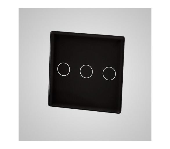 Mały panel dotykowy 47x47mm szklany, łącznik potrójny, czarny TM532b