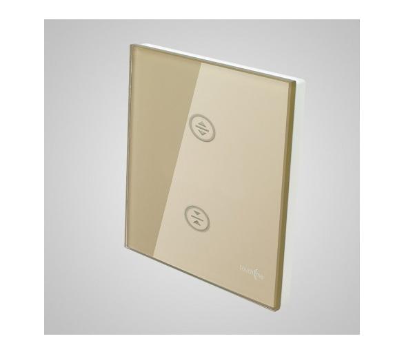 Duży panel dotykowy 86x86mm szklany, żaluzjowy, złoty TM727g