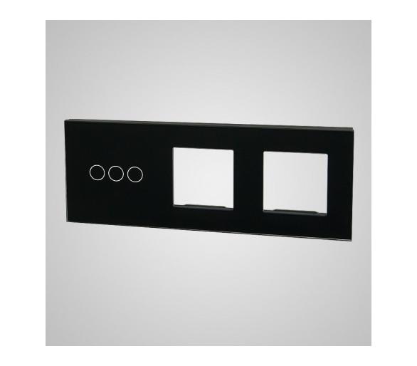 Duży panel (86x228) szklany, 1 x łącznik potrójny, 2 x ramka, czarny TM703728728B