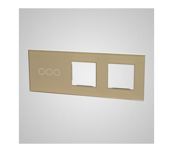 Duży panel (86x228) szklany, 1 x łącznik potrójny, 2 x ramka, złoty TM703728728G