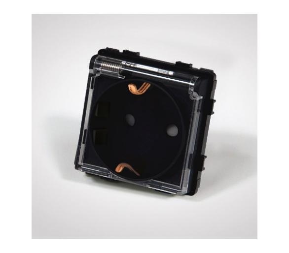 Gniazdo schuko z klapką, modułowe, czarne TM6242b