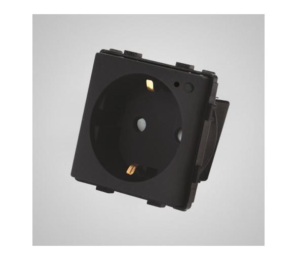 Gniazdo schuko ze wskaźnikiem LED, WiFi, modułowe, czarne TM634B
