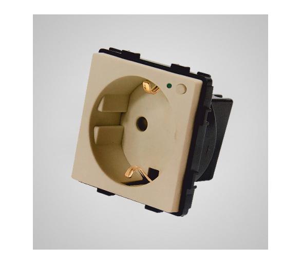 Gniazdo schuko ze wskaźnikiem LED, z przyciskiem ON/OFF, modułowe, złote TM636G
