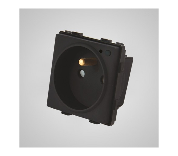 Gniazdo z bolcem ze wskaźnikiem LED, WiFi, modułowe, czarne TM635B