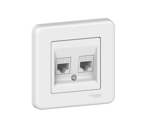 Gniazdo komputerowe 2xRJ45 kat.6, biały LNA4800121