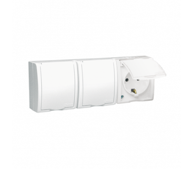 Gniazdo wtyczkowe potrójne z uziemieniem typu SCHUKO z przesłonami torów prądowych - w wersji IP54 -  klapka w kolorze białym bi