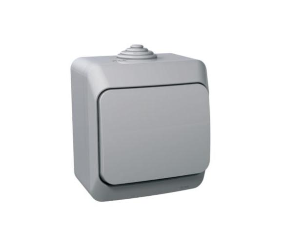 Gniazdo pojedyncze 2P+PE z szarą klapką IP44 szary WDE000640
