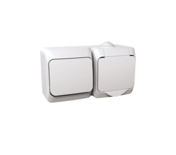 Zestaw łącznik + gniazdo IP44 biały WDE000580