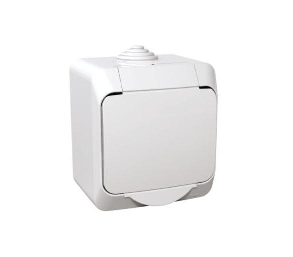 Gniazdo pojedyncze 2P+PE z białą klapką IP44 biały WDE000540