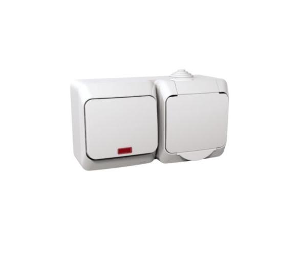 Zestaw łącznik + gniazdo z podświetleniem IP44 biały WDE000581