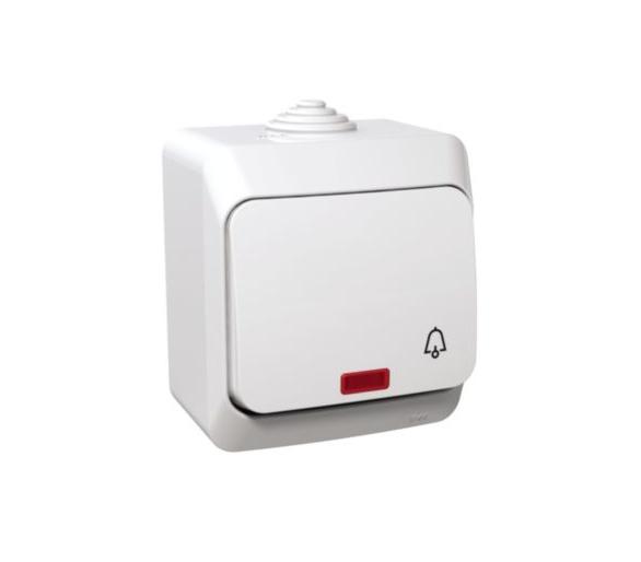 Przycisk dzwonek z podświetleniem IP44 biały WDE000515