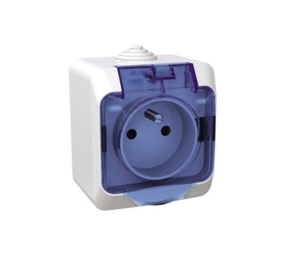 Gniazdo pojedyncze 2P+PE z niebieską klapką IP44 biały WDE000542