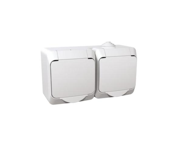 Gniazdo podwójne 2P+PE z białą klapką IP44 biały WDE000522