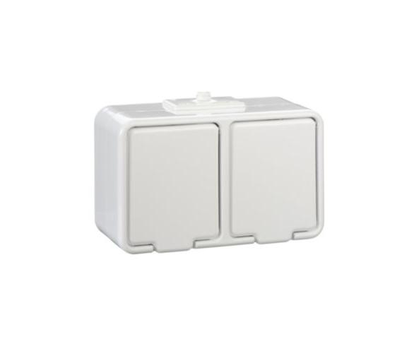 Gniazdo podwójne Schuko z przesłonami IP44 biały GWN240PC01
