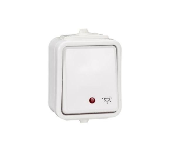 Przycisk światło z podświetleniem IP44 biały WNT102CS01