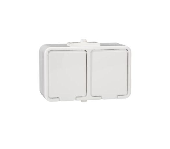 Gniazdo podwójne 2x2P+PE IP44 biały NT230H01