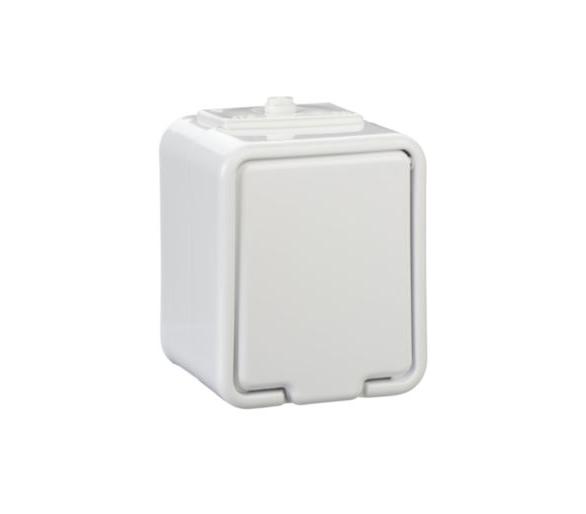 Gniazdo pojedyncze Schuko z przesłonami IP44 biały GWN140PC01