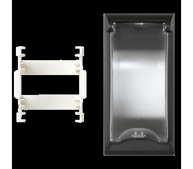 Płytka z pokrywą SIMON 500 do aparatury 2-polowej 100×50mm szary grafit 50000074-038