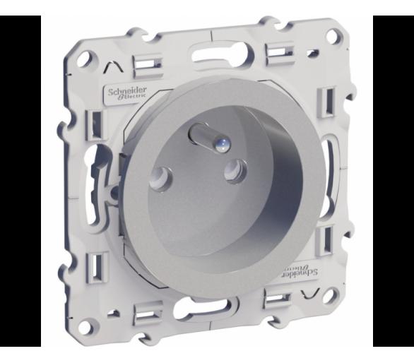 Gniazdo pojedyncze 2P+PE z przesłonami aluminium S53D059