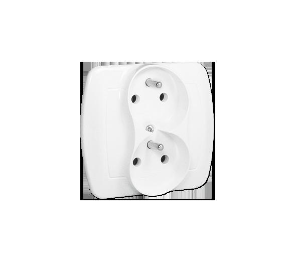 Gniazdo wtyczkowe podwójne z uziemieniem z funkcją niezmienności faz z przesłonami torów prądowych biały 16A