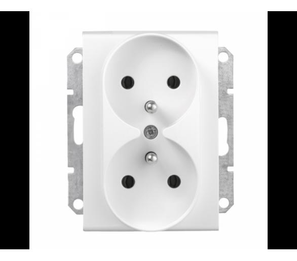Gniazdo podwójne 2P+PE do systemu ramkowego biały SDN2800921