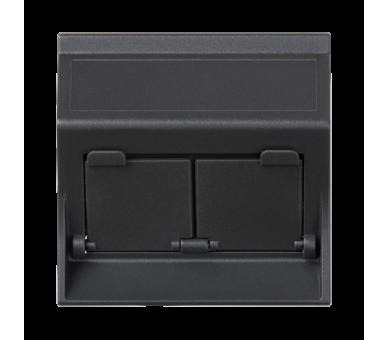 Plakietka teleinformatyczna SIMON 500 do adapterów MD podwójna skośna z osłonami 50×50mm szary grafit 50000086-038