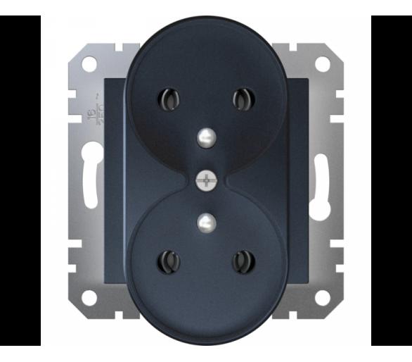 Gniazdo podwójne 2x2P+PE do systemu ramkowego, antracyt EPH9810271